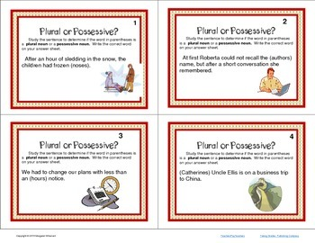 Task Cards Parts of Speech Nouns Plural and Possessive CCSS
