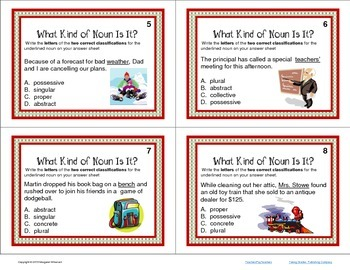 Task Cards Parts of Speech Types of Nouns CCSS