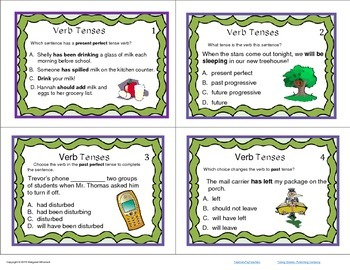 Task Cards Parts of Speech Verb Tenses (CCSS Aligned)