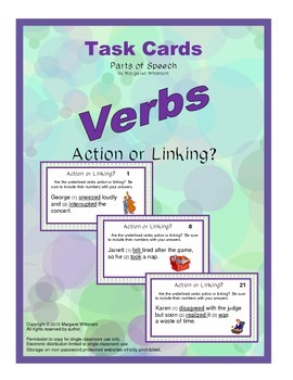 Task Cards Parts of Speech Verbs  Action or Linking (CCSS Aligned)