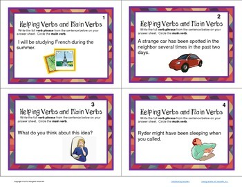 Task Cards Parts of Speech Verbs  Helping Verbs and Main Verbs (CCSS Aligned)