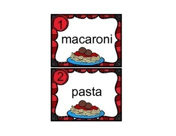 Task Cards Pasta Vocabulary