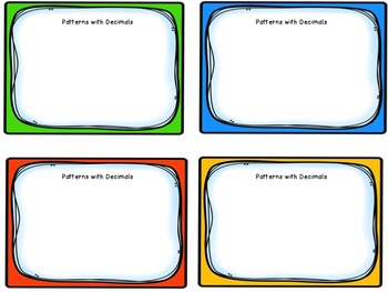 Task Cards: Patterns with Decimals [Finding Sequence and Missing Terms]  5.NBT.7