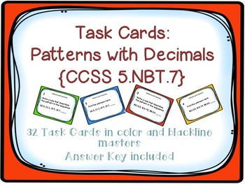 Task Cards: Patterns with Decimals [Finding Sequence and M