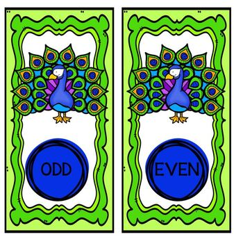 Task Cards Peacock Themed Odd or Even