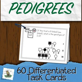 Biology Task Cards Pedigree Genetics 60 Question Package