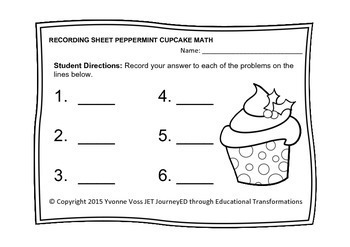 Task Cards Peppermint Cupcake Math