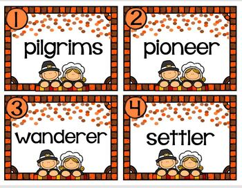 Task Cards Pilgrim Vocabulary