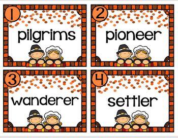 A Pilgrim Themed Vocabulary Station
