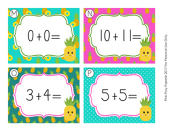 Task Cards Pineapple Addition Doubles and Doubles Plus One