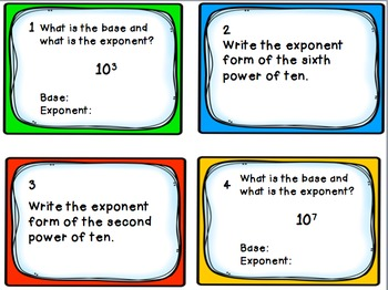 Task Cards: Place Value [Powers of Ten, Exponents, and Patterns] 5.NBT.A.2
