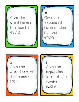 Task Cards: Place Value [Reading/Writing Decimals to the Thousandths] 5.NBT.3