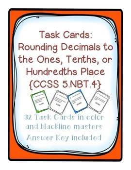 Task Cards: Place Value [Rounding Decimals to Ones, Tenths