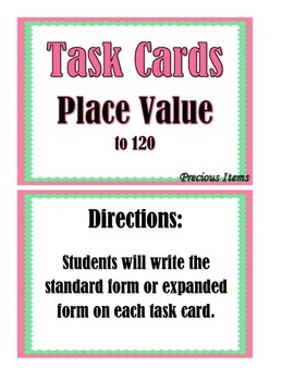 Place Value up to 120 - Task Cards