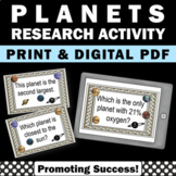 Planets Task Cards, Solar System Activities Earth Science Centers
