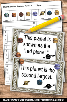 Solar System and Planets Special Education Science Centers, Planets Task Cards