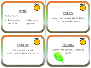 Plants - Life Science Task Cards