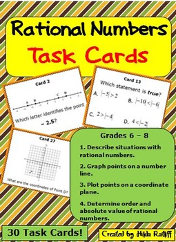 Task Cards - Plot Points, Order Rational Numbers, Absolute Value