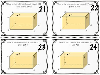 Task Cards - Points, Lines, and Planes Vocabulary
