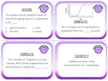 Population Dynamics: Life Science Task Cards