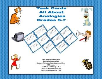 Task Cards  Practice Analogies Grades 5-7