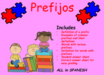 Task Cards Prefijos Prefixes SPANISH
