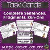 Run-Ons, Fragments, Complete Sentences Task Cards