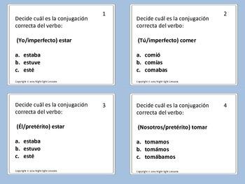 Task Cards: Pretérito e Imperfecto: Choose The Correct Verb Conjugation