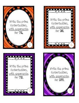 Task Cards - Prime Factorization - Halloween Themed