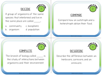 Task Cards - Principles of Ecology