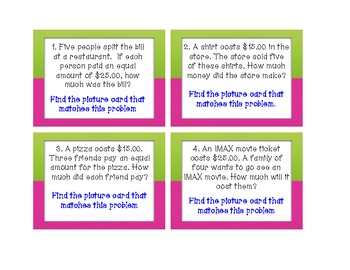 Task Cards: Problem & Picture Matching