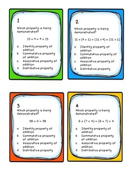 Task Cards: Properties [Addition, Multiplication, and Distributive] 5.NBT.A.6