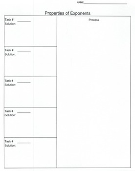Task Cards - Properties of Exponents