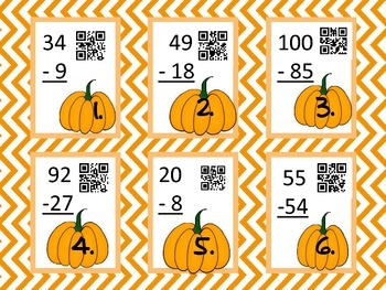 Task Cards - Pumpkin Subtraction with QR code answers