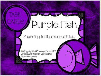 Task Cards Purple Fish Rounding to the nearest ten
