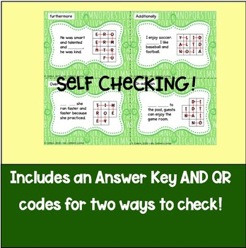Task Cards - QR code Activity to teach Transition words and phrases