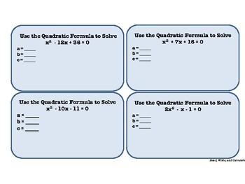 Task Cards: Quadratic Formula