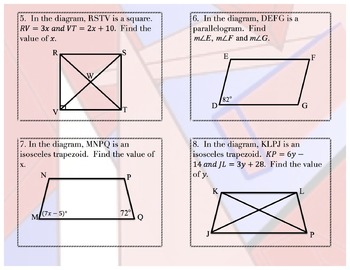 Task Cards:  Quadrilateral Review