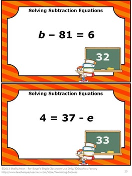 Solving Algebraic Equations, Algebra Task Cards Subtraction