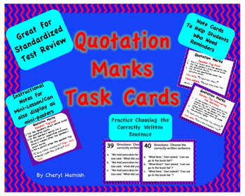 Task Cards Quotation Marks -  CCSS.ELA-Literacy.L.3.2.c, L.4.2.b