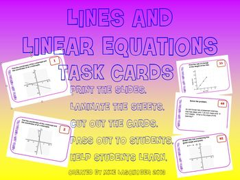 Task Cards - Lines and Linear Equations