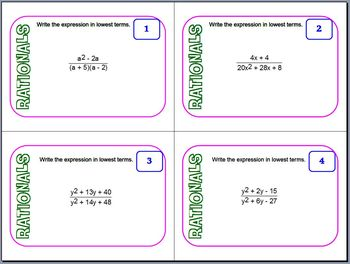 Task Cards - Rational Expressions and Equations