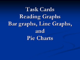 Task Cards Reading Graphs Bundle: Line Graphs, Bar Graphs, and Pie Charts