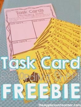 Task Cards Recording Sheet FREEBIE