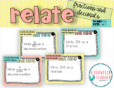Relate Fractions and Decimals Task Cards 5.nbt.1