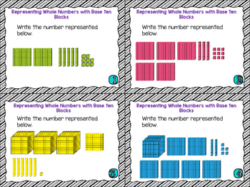4th Grade Math Task Cards- Representing Whole Numbers Base Ten Blocks; 4.NBT.A.2