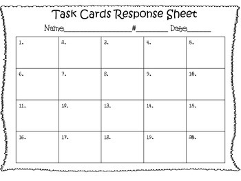 Task Cards  Response Sheet