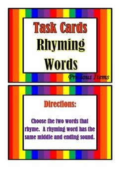 Rhyming Words - Task Cards