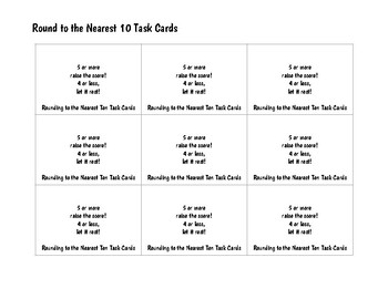 Task Cards: Round to the Nearest Ten