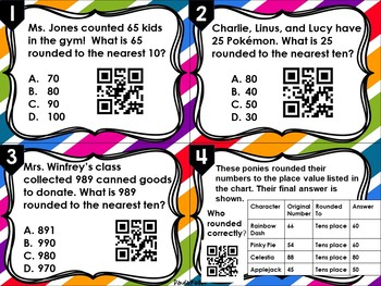 Task Cards:  Rounding to the Nearest Ten, Hundred, and Thousand